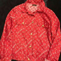 '' LV x Supreme ''Fashion Distressed Jacket Coat I-AGG-CZDL