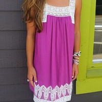 Find Your Way Berry Lace Detail Sundress