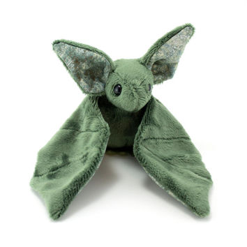 Green and Silver Bat Stuffed Animal, Plushie, Plush Toy