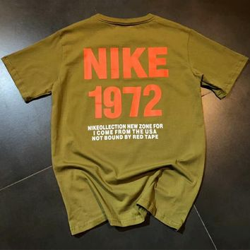 NIKE 1972 Memorial Summer Tide Fashion Men and Women Fashion Short Sleeve F-MG-FSSH Army Green