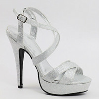 "Wedding shoes silver with 4 1/2"" heels with 1/2"" platform (Style 200-41)"