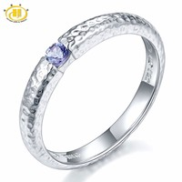 Hutang Genuine Tanzanite Solid 925 Sterling Silver Hammered Band Tail Ring Fine Jewelry Natural Gemstone