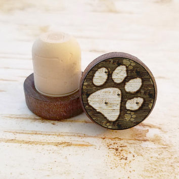 Paw Print Wine Stopper, Dog Paw Grunge Style Bottle Stopper, Dark Wood T-Top, Party Favors, Housewarming Gift, Wood Top Cork Stopper
