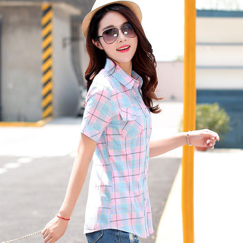 2016 Summer New fashion plaid short sleeve shirt women summer blouse shirt casual cotton tops girl summer clothing shirt