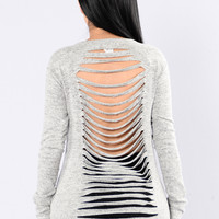Stabbed In The Back Top - Grey
