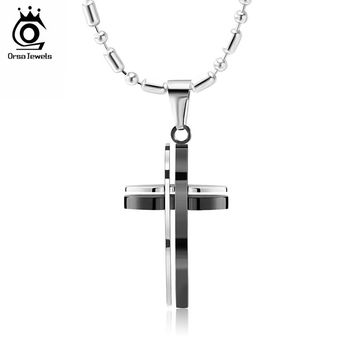 ORSA JEWELS High Quality Men's Jewelry Stainless Steel Cross Pendants Necklace with 50CM Chain Fashion Religious Gift GTN10