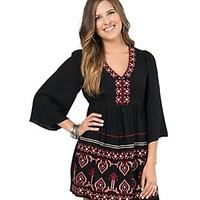 Flying Tomato Women's Black with Red & Cream Embroidery 3/4 Sleeve Dress - Plus Sizes