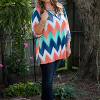 Curvy| Honest I Do Chevron Top - Coral
