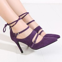 Suede Buckle and Ankle Strap High Heeled Pumps 5 Colors