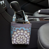CAR CELLPHONE CADDY Amy Butler Lotus Sky, Car Phone Holder, iPhone, Cellphone Holder, Sunglass Case, Beach Chair Caddy, Pool Chair Holder
