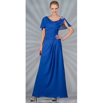 CLEARANCE - A Line Royal Blue Dress Long With Chiffon Short Sleeves (Size S, M, L, 3XL)