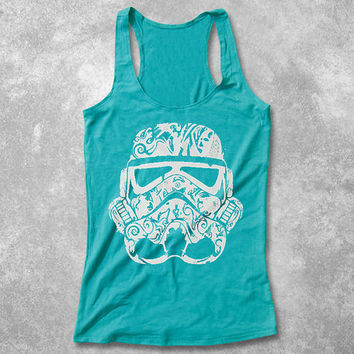 Star Wars Women Tank Top Racerback Stormtrooper Helmet women SciFi stencil hand screenprint workout girl shirt