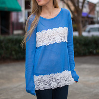 Floral Lines Top, Blue-White