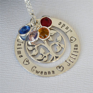 Tree of Life Hand-Stamped Family Necklace- Mother's Necklace