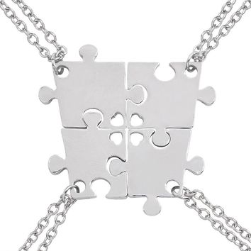 4 Pcs/set Best Friend Puzzle Pendant Necklace Best Friends Forever BFF Necklaces Four Splicing Love Pendants Friendship Jewelry