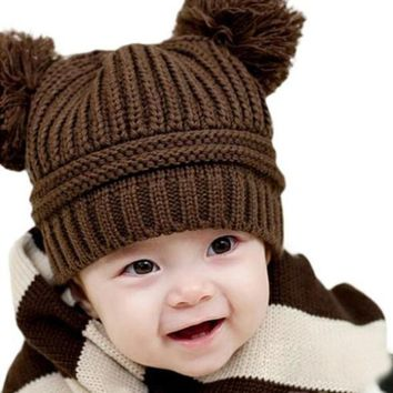 Kid Baby Warm Crochet Hat Knit Two Balls Beanie Knit Sweater Cap Earflap Hat