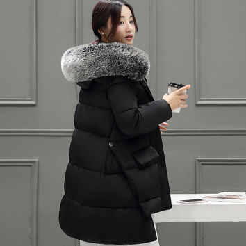 Women Winter Fashion Plus Size Long Sleeve Padded Down Coat with Fur Hat [8348814401]