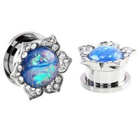 Pair Steel Ear Plugs Tunnels Fake Opal Stone Earring Gauges Screw Fit Piercing Tunnels Plugs Ear Expander Rings Body Jewelry