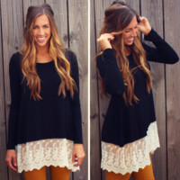 Black Lace Trim Tunic