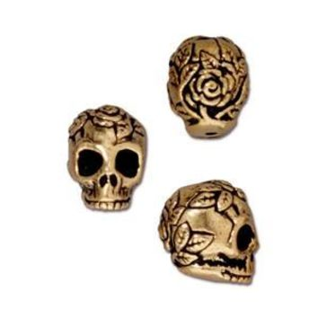 94-5685-26 - TierraCast Antique Gold Pewter Rose Skull Bead, 10mm | Pkg 2