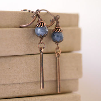 Denim Blue Coral Long Antiqued Copper Dangling Bar Boho Style Earrings
