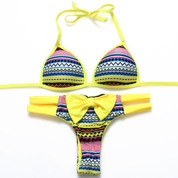 Fashion Multicolor Wave Print Bow Triangle Bandage T Underpant Straps Bikini Set Two-Piece Swimwear