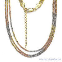 925 Sterling Silver & 14k Yellow Rose Gold GP Roc Link Rope Multi-Chain Necklace