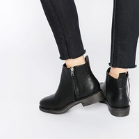 New Look Zip Side Flat Ankle Boot at asos.com
