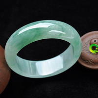 Free Shipping -   real Natural Ice Green Grade AAA jadeite jade charm / Round Shape charm Bangle - custom you size( diameter 54mm-60mm)