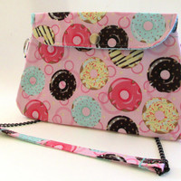 Donut Clutch Purse / Purse with Chain Strap / Pink Donuts Bag / Sprinkles