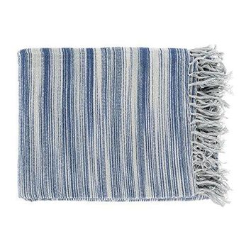 Ben and Jonah Striped Tanga Throw Blanket with Fringes (Grey Blue)