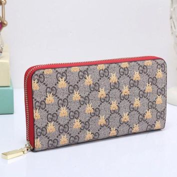 PEAPUP0 GUCCI Bee Women Fashion Embroidery Leather Buckle Wallet Purse Clutch Bag4