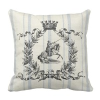 French Grain Sack Knight Throw Pillow