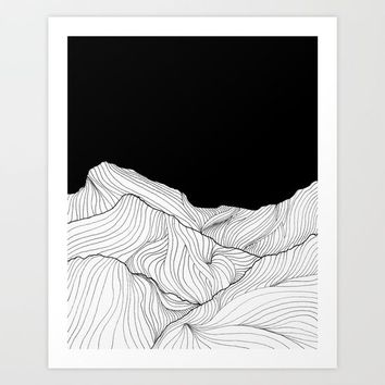 Lines in the mountains - b&w Art Print by ViviGonzalezArt