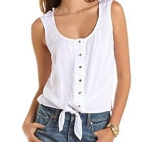Crochet Back Button-Down Tank: Charlotte Russe