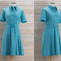 Vintage 1970s Teal Shirt Waist Pleated Dress / Turquoise Belted Plain Jersey Dress / Pointed Collar Minimalist Knit Cute Medium MDress