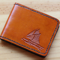 Ship Wallet, Hand Carved Leather Wallets, Nautical Billfold, Hand Stitched Leather Bifold Wallets, Hand Tooled Leather Credit Card Wallets