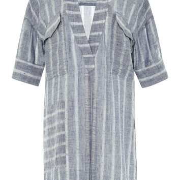 V-Neck Striped Linen Tunic
