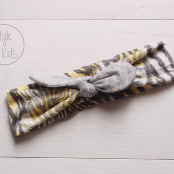 Zebra Top Knot Headband with Light Grey Bow Headband Knot Toddler Headband Head Wrap Baby Bow Headband Newborn Knot Headband