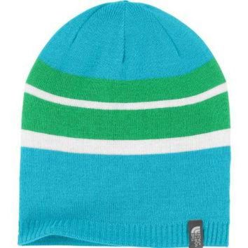LMFON The North Face Reversible Leavenworth Girls Hat Turquoise Blue