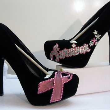 BREAST CANCER  SURVIVOR    Heels all Sizes by KUSTOMKICKZ on Etsy