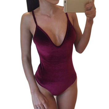 Sexy Womens Velvet Bikini Swimming Set Romper Plain Pink Deep V Female Solid Color Swimming Wear Monokini Maillot De Bain