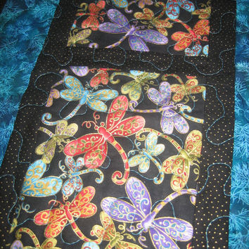 Dragonfly Table Runner Turquoise Purple Green Gold Quilted Table Decor Handmade