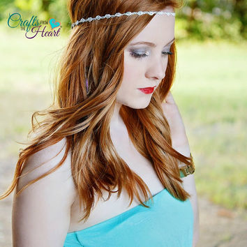 White Boho Headband - Adult Boho Headband - Forehead Headband - Hippie Headband - Halo Headband - White Rosette Boho - Adult Headband