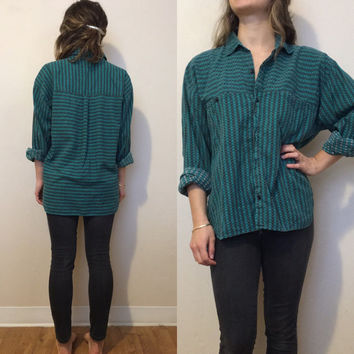Vintage 80's Button Down, Plaid, Boyfriend Button-Down, Oversized, Retro - Small/Medium