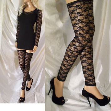 Black Lace Leg Warmers, Black Lace Thigh Highs, Black Hosiery, Black Lace Leg Accessory, Black Lace Leggings, Black Stockings, Lace Tights