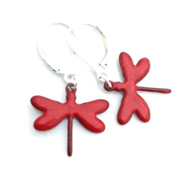 Enamel Earring, Red, Dragonfly Earrings, Nature Lover Gift, Nature Earrings, Red Valentine, Leverback, Thank You Gift, Friend