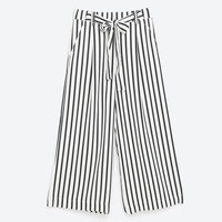 CROPPED FLOWING STRIPED TROUSERS