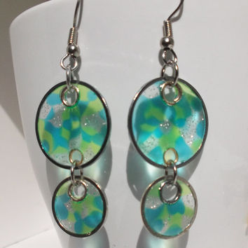 70s Circles (Faux Stained Glass) Earrings - mother's day, gift for her, girlfriend, sister, teenager, geek, spring, birthday