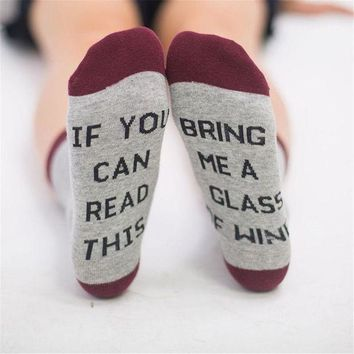 CREYV2S Uk Unisex IF YOU CAN READ THIS BRING ME A BEER Fashion Socks Cotton Funny Socks
